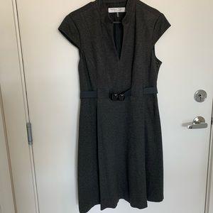 Trina Turk gray belted dress size 12 gray midi